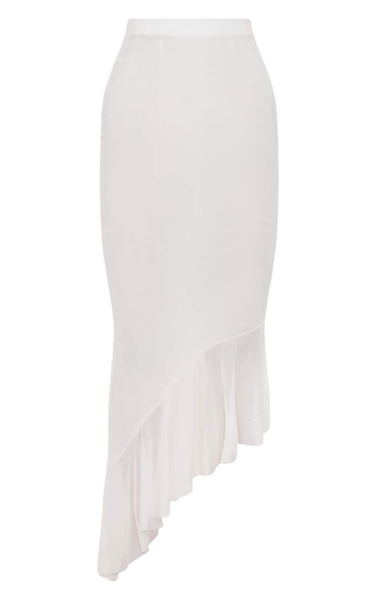 White Mesh Frill Detail Maxi Skirt 3
