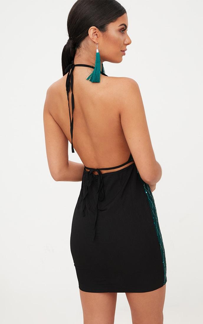 Emerald Green Sequin Front Bodycon Dress 2