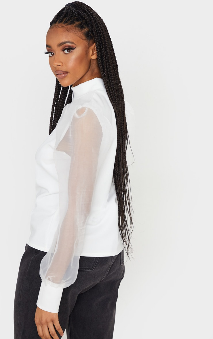White Organza High Neck Crepe Top 2