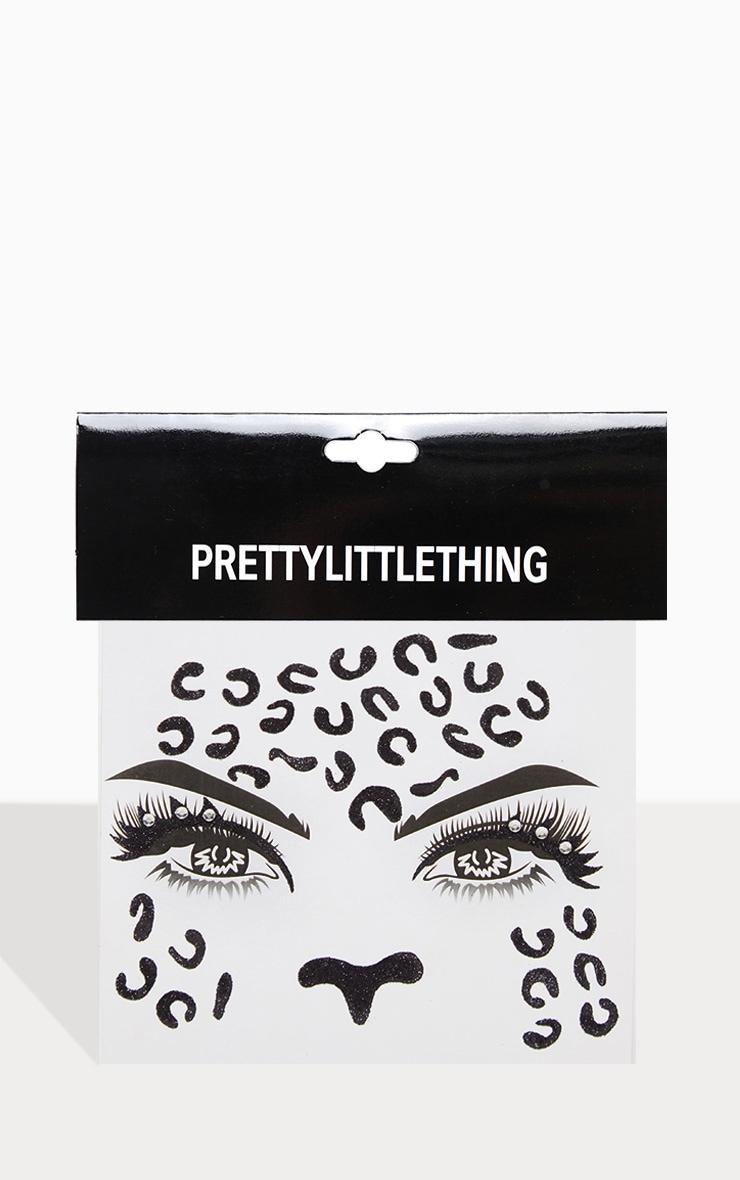 PRETTYLITTLETHING Black Leopard Face Sticker 3