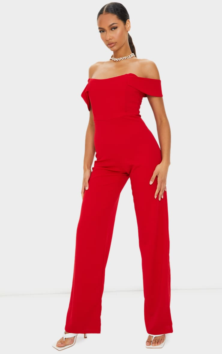 Red Bardot Corset Wide Leg Jumpsuit 1