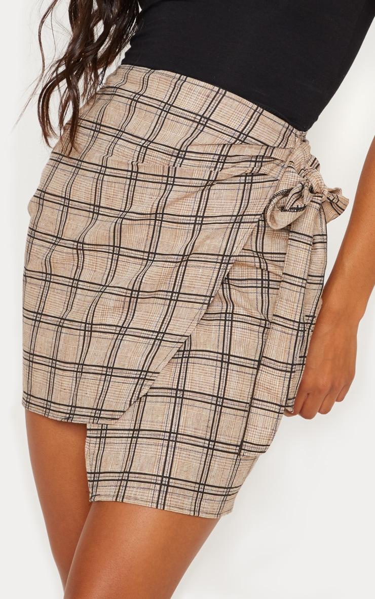 Stone Check Wrap Tie Skirt 6