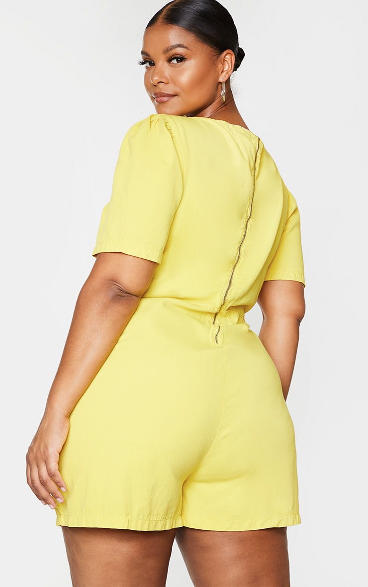 Plus Lemon Square Neck Denim Romper 2