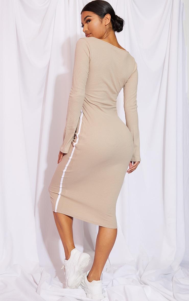 Stone Rib Contrast Trim Cut Out Long Sleeve Midi Dress 2
