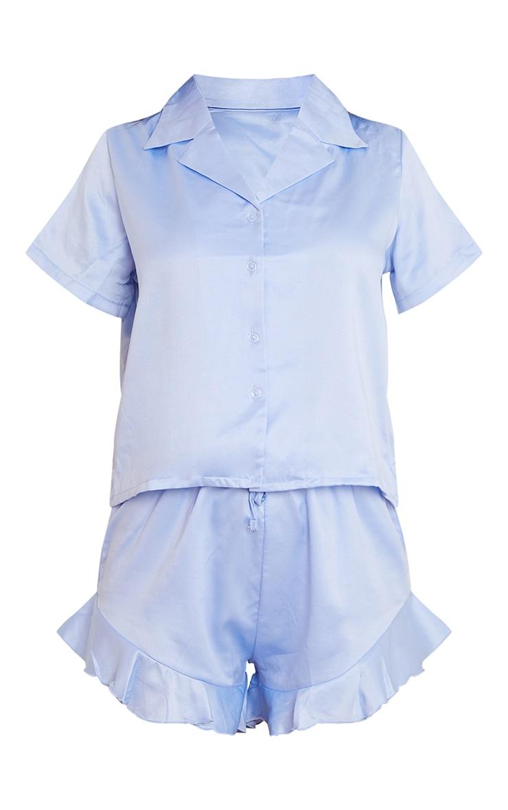 Baby Blue Satin Shirt And Ruffle Short PJ Set 5