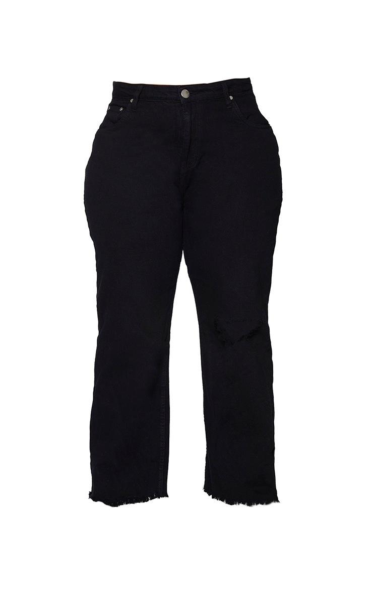 Plus Black Knee Rip Wide Leg Fray Hem Jeans 5
