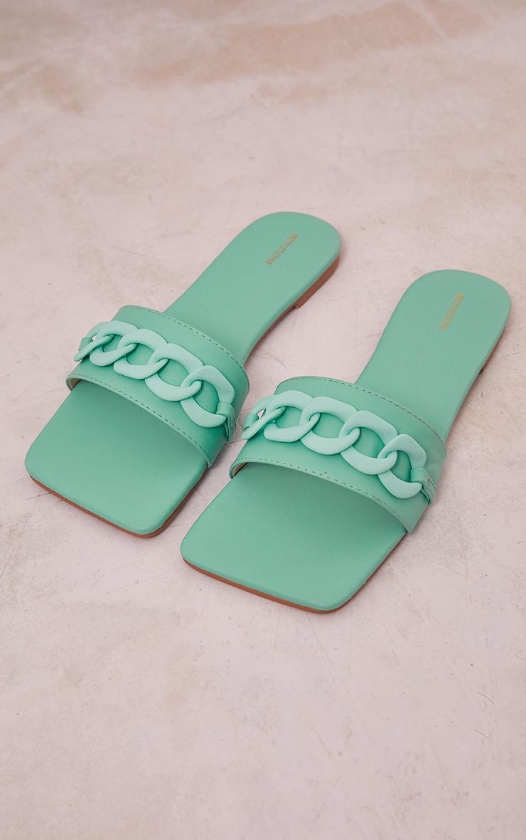 Aqua PU Square Toe Chain Detail Mule Sandals 3