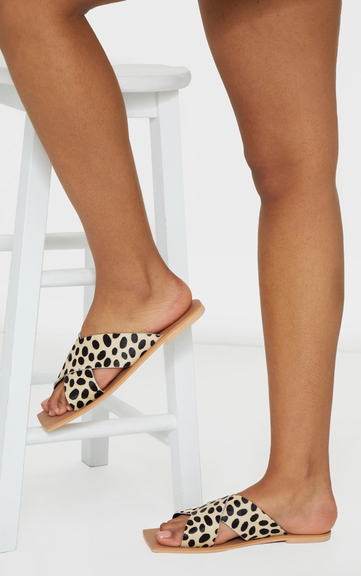 Leopard Square Toe Leather Cross Over Strap Leather Mule Sandals 1