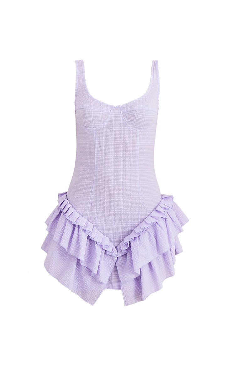 Lilac Textured Woven Frill Hem Cup Detail Bodycon Dress 5
