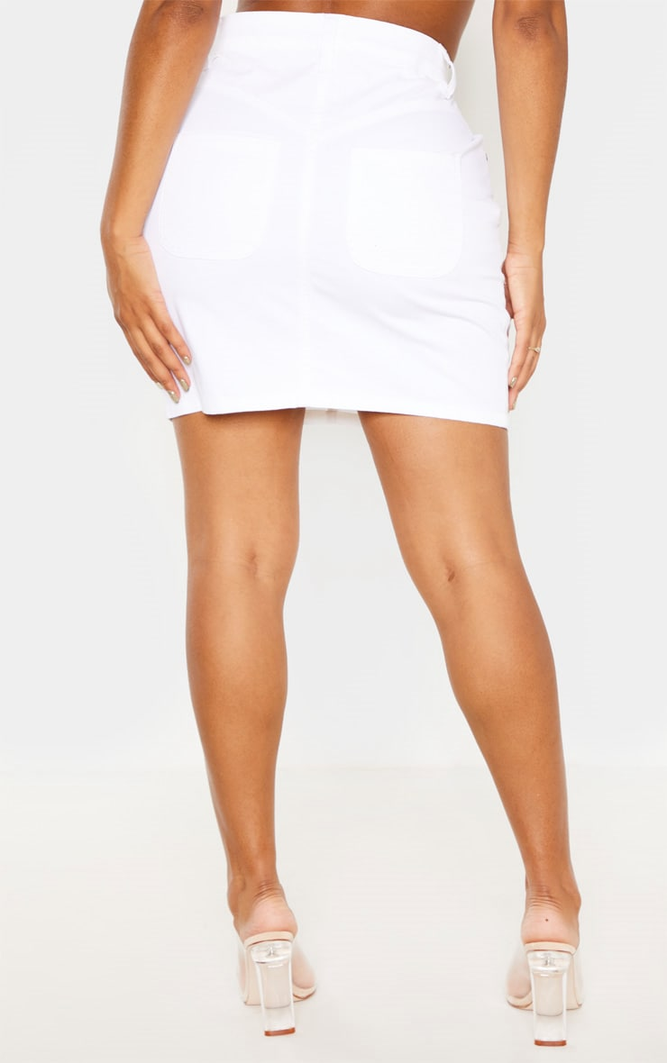 Shape White Denim Mini Skirt  4