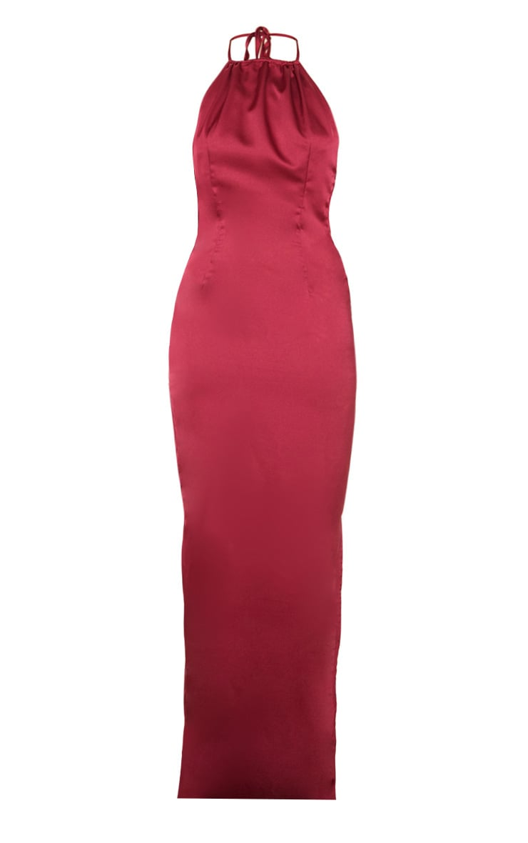Burgundy Cowl Back Halterneck Maxi Dress 3