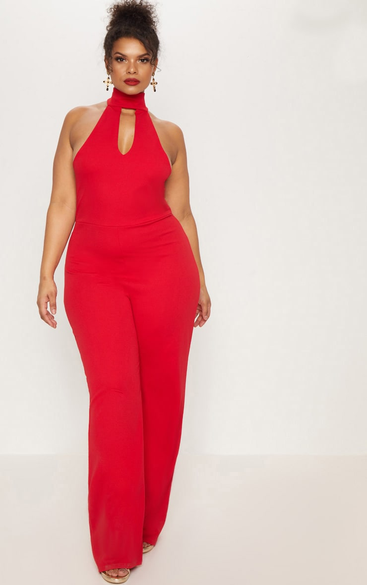 Plus Red Cut Out Wide Leg Jumpsuit 1