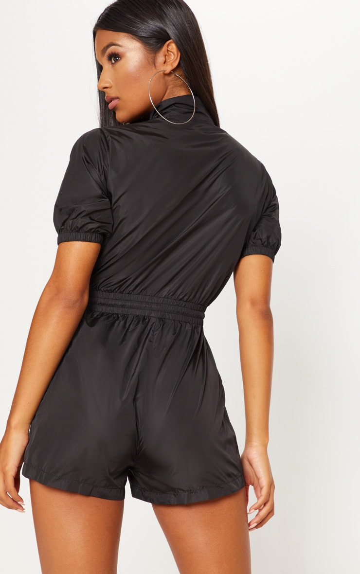 Monochrome Shell Zip Up Playsuit  2