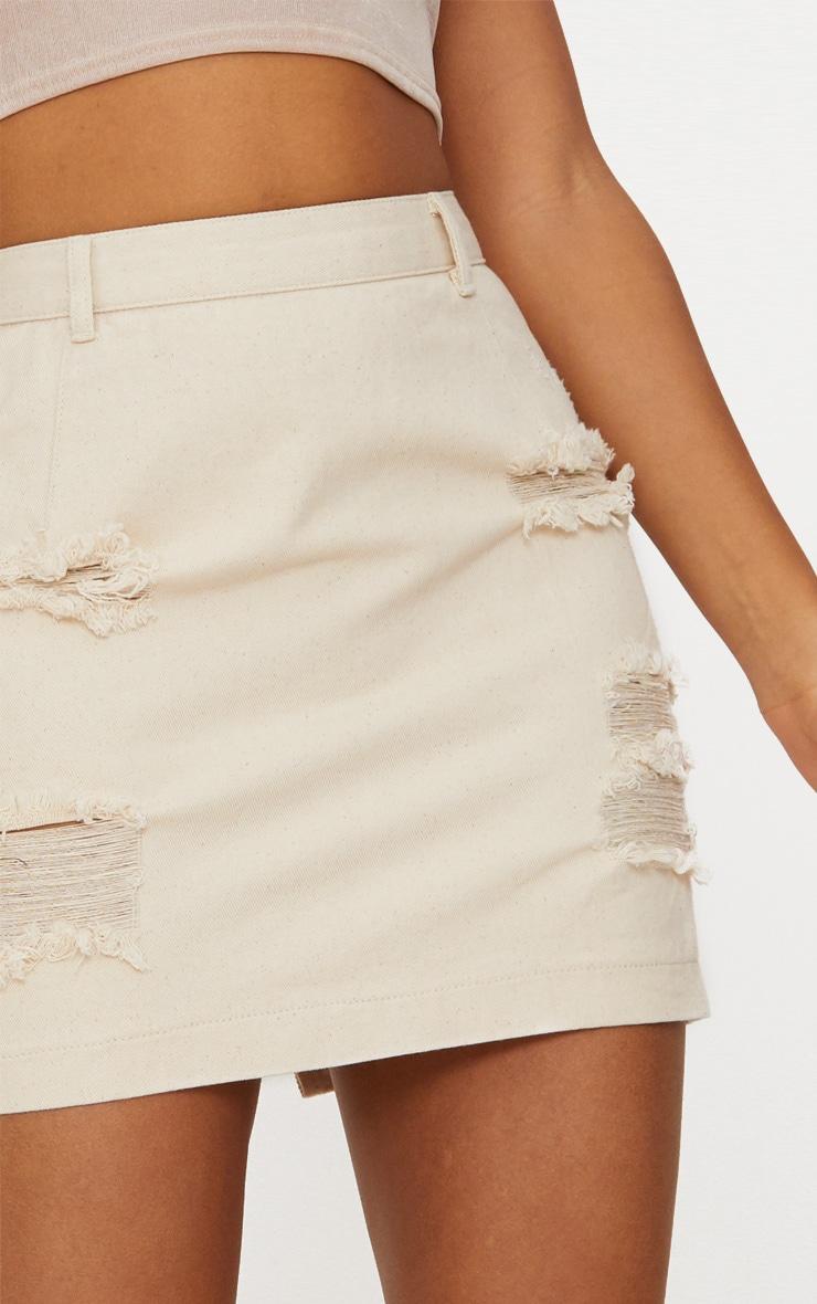 Ecru Roschian Distress Mini Skirt 6