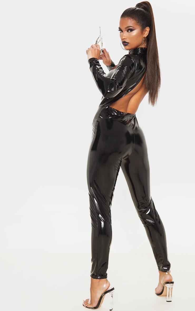 Black Backless Vinyl Long Sleeve Jumpsuit 2