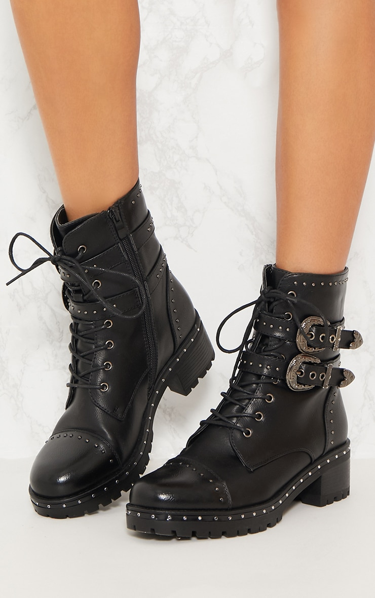 Black Buckle Side Studded Biker Boot 2