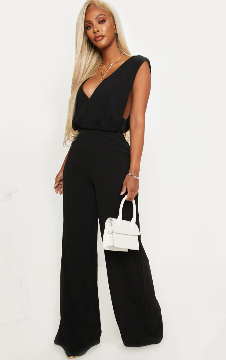 Shape Black Side Boob Wide Leg Jumpsuit 1