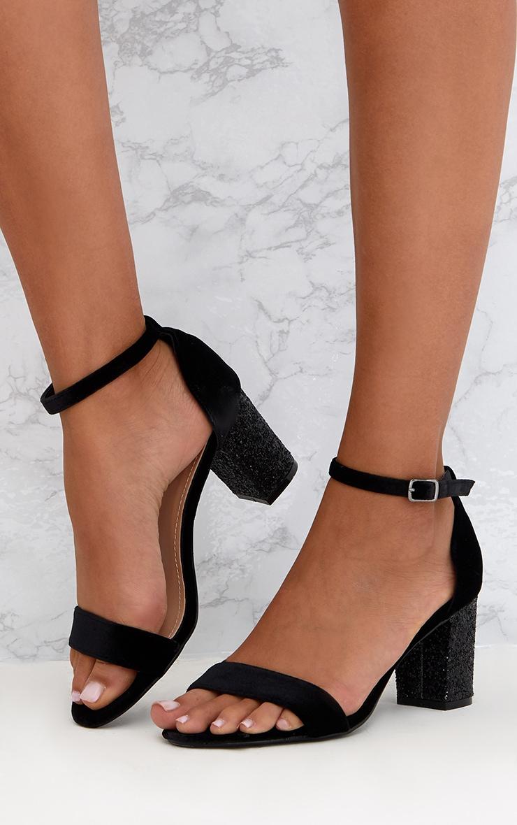 Black Glitter Low Heeled Sandals  2