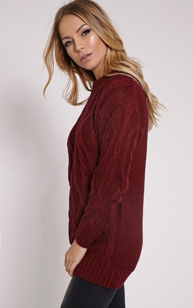 Moon Wine Cable Knit Mid Jumper 4