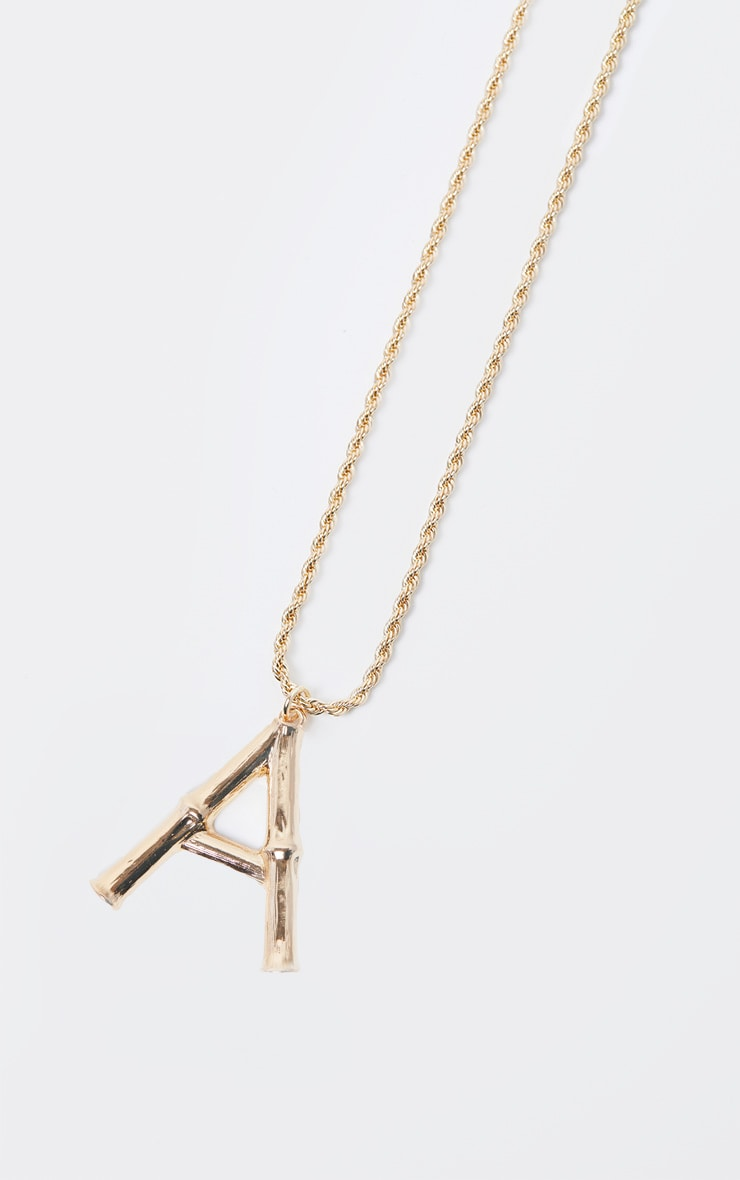 Gold A Bamboo Letter Necklace 3