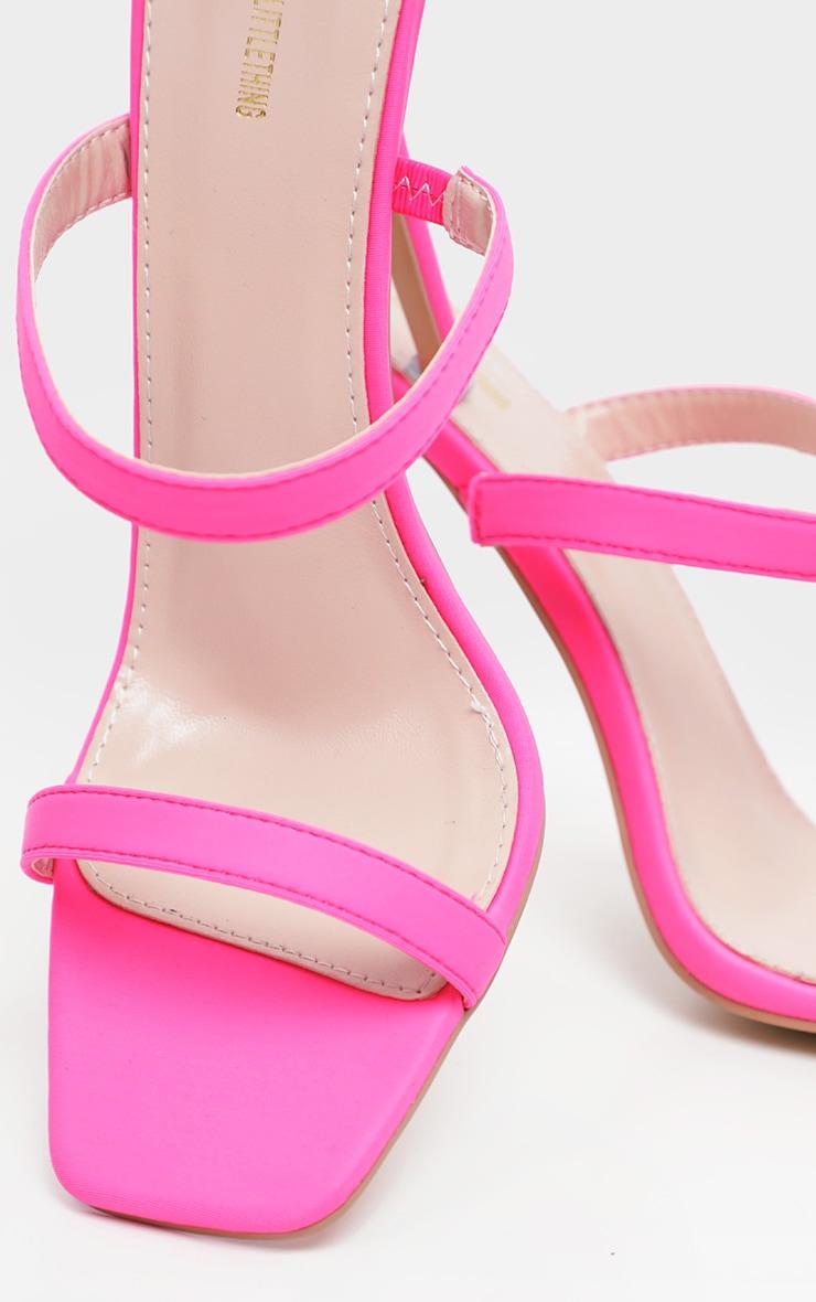 Pink Twin Strap Square Toe Mule Sandal 4