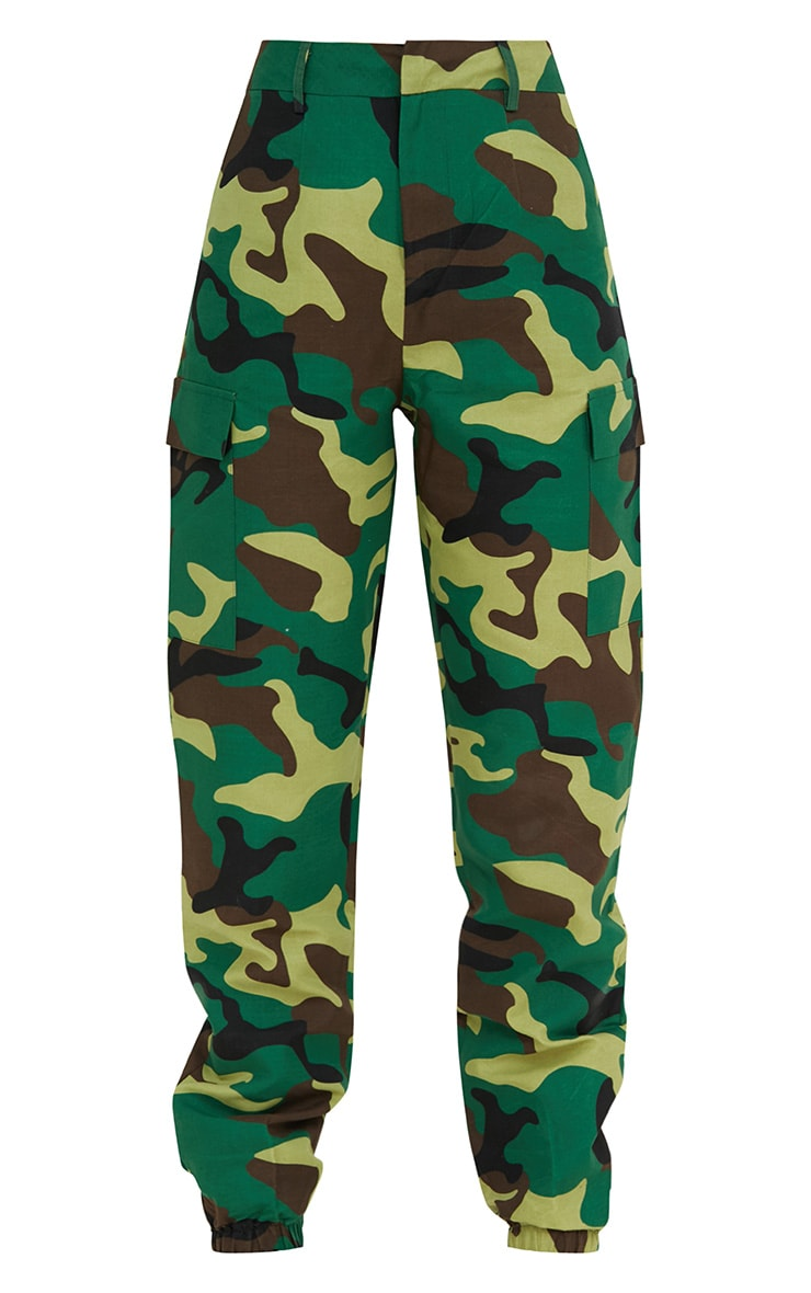 Green Camo Print Cargo Trousers 3