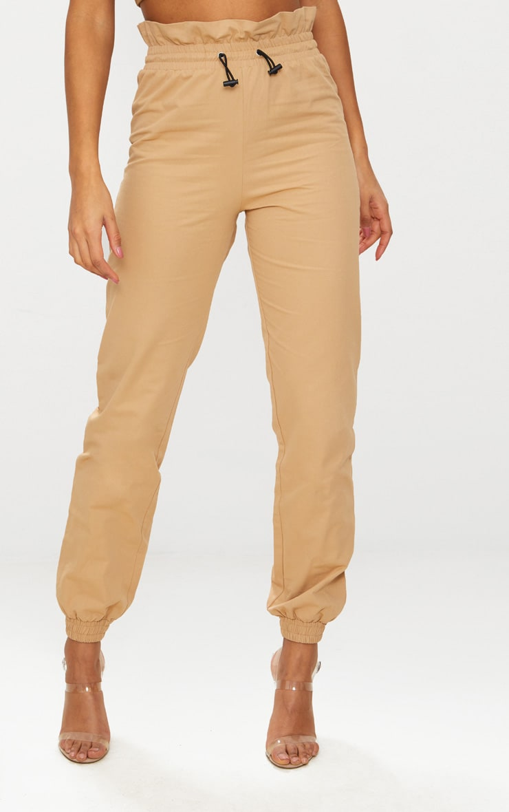 Stone Toggle Paperbag Waist Cargo Trousers 2