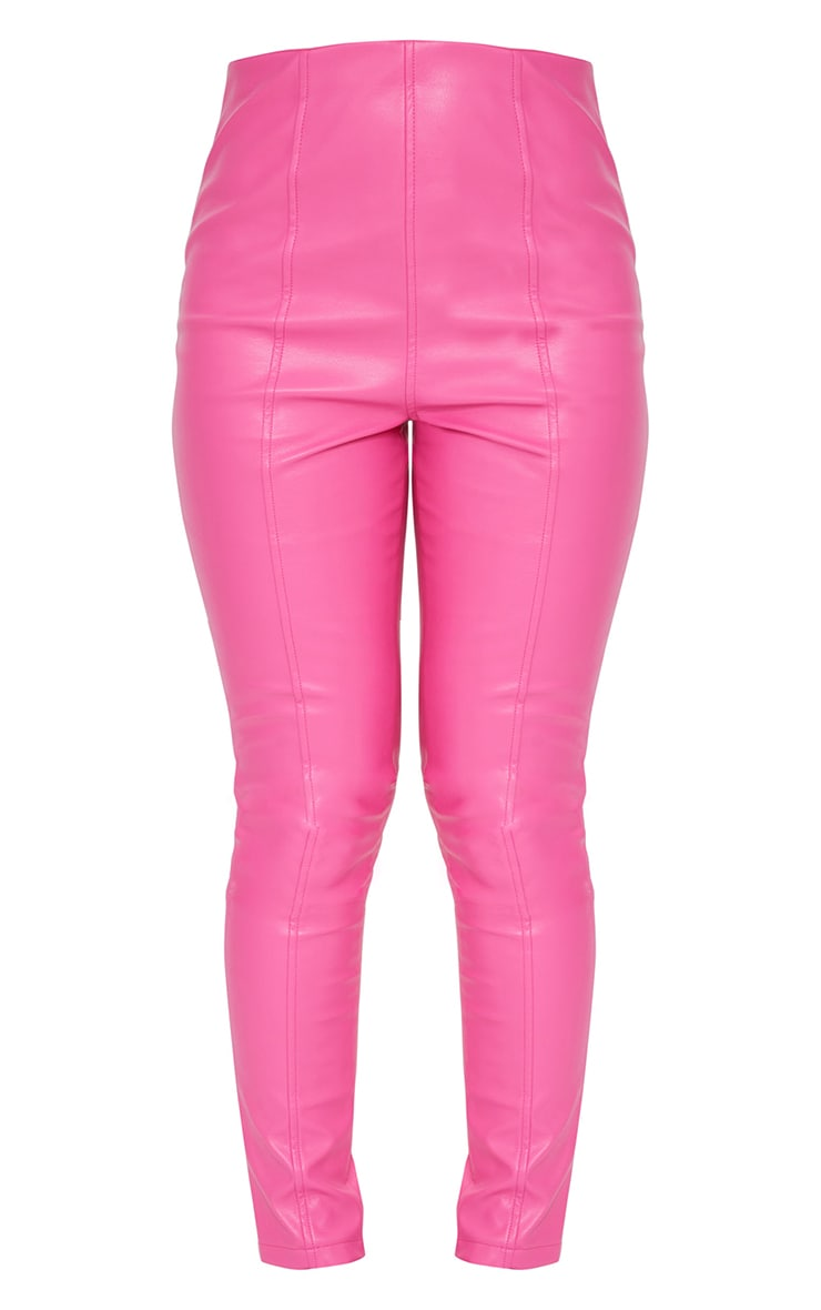 Hot Pink Faux Leather Stretch Leggings 5