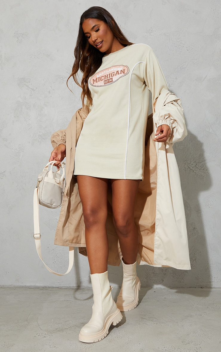 Recycled Stone Michigan Slogan Contrast Binding Sweat Jumper Dress 1