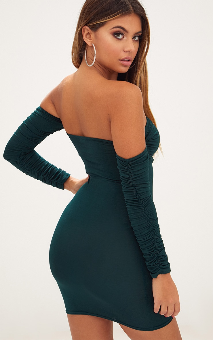 Emerald Green Ruched Front Ruched Arm Bardot Bodycon Dress 3