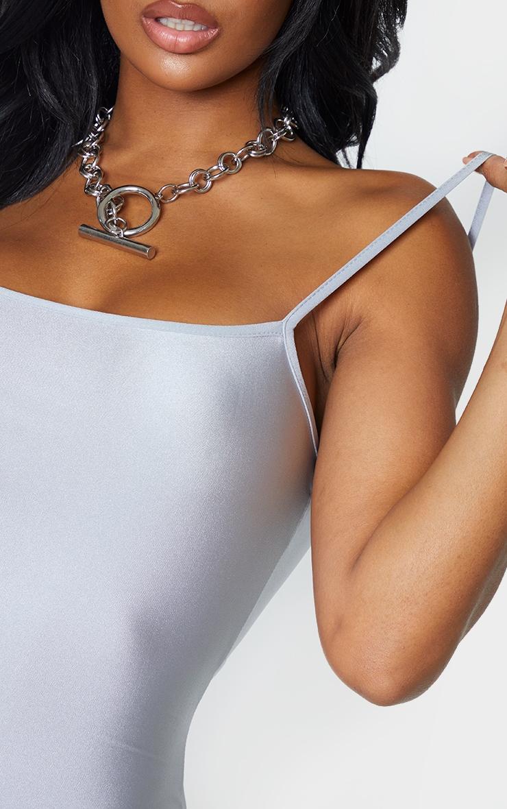 Shape Silver Disco Strappy Straight Neck Bodycon Dress 5
