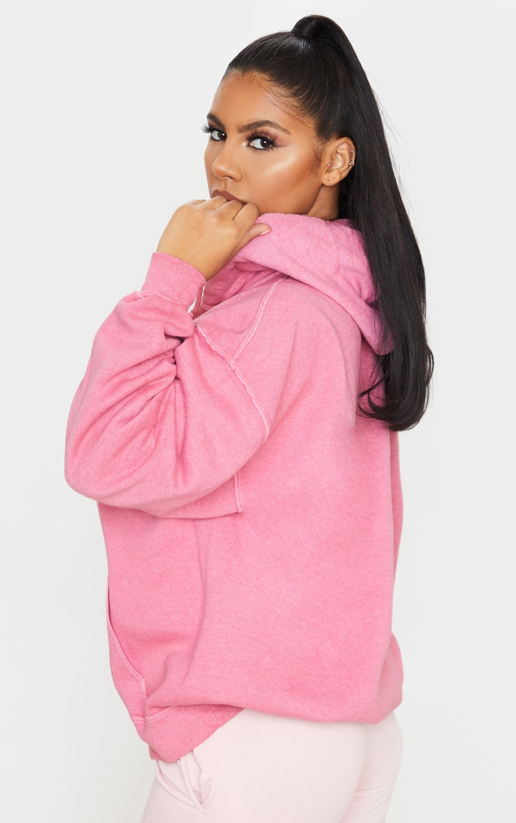 Pink Washed Oversized Hoodie 2