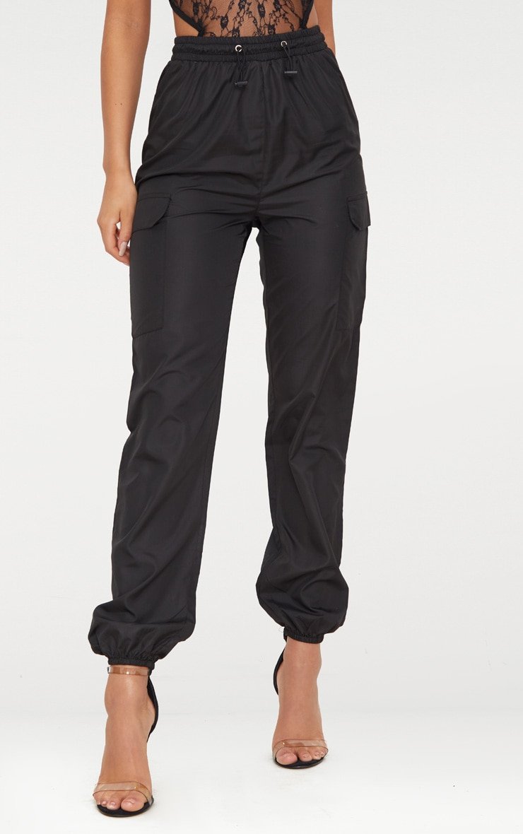 Black Toggle Waist Shell Suit Joggers 2