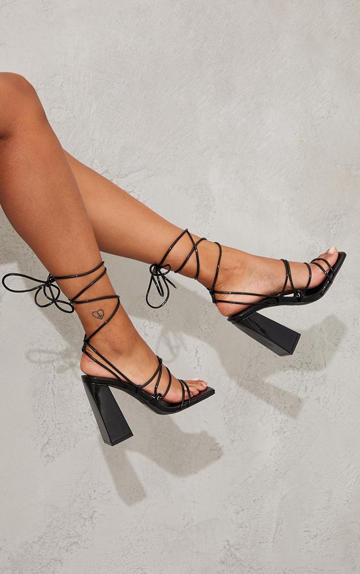 Black Patent PU Square Toe Strappy Block Heel Sandals 2