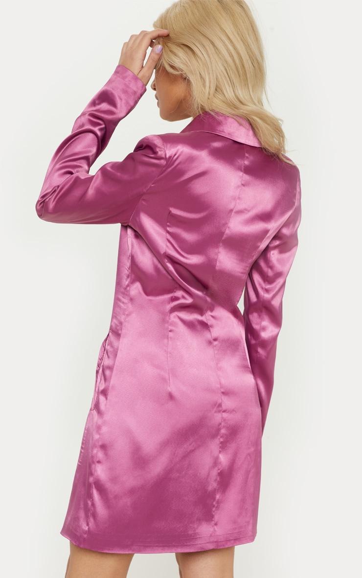 Petite Pink Satin Button Detail Blazer Dress 2