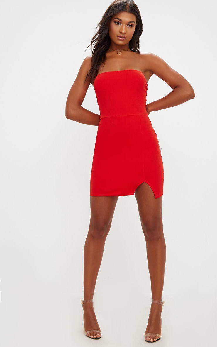 Tomato Red Split Detail Bandeau Bodycon Dress 4