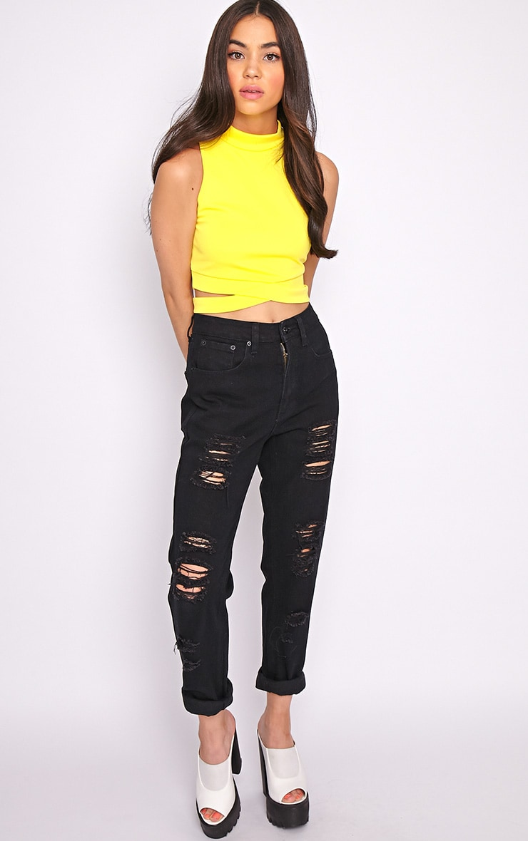 Selina Yellow Tie Front Crop Top -S/M 3