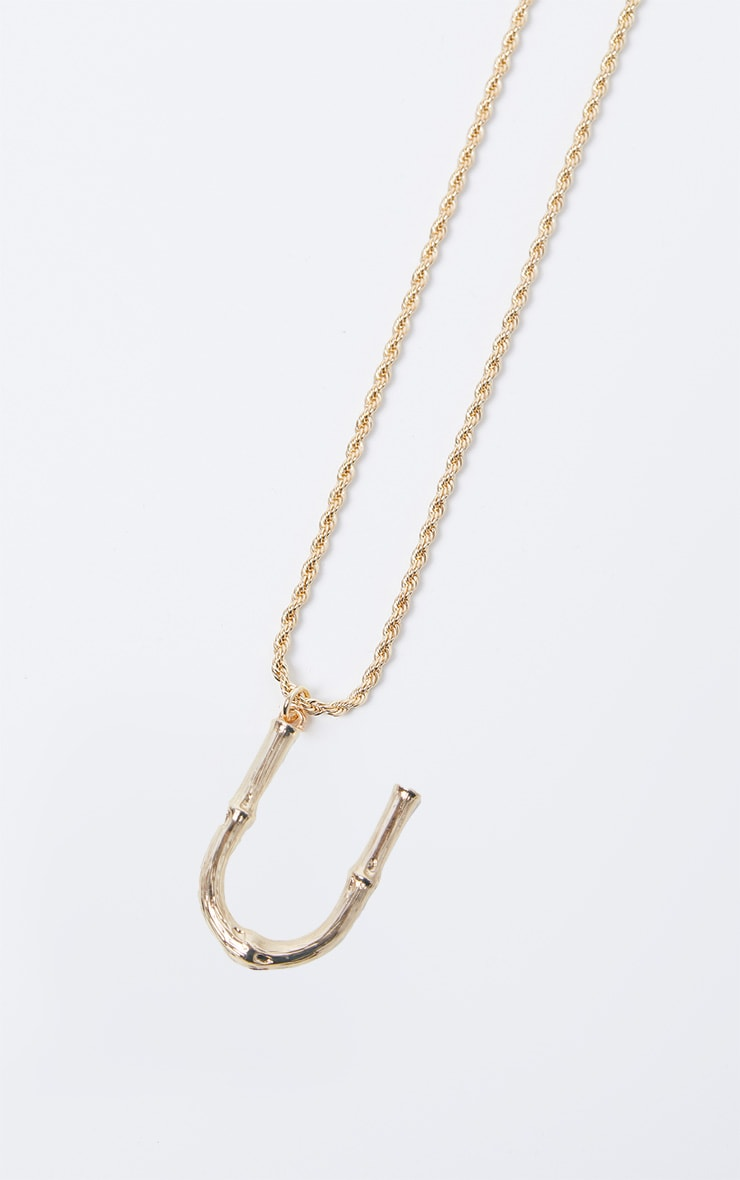 Gold U Bamboo Letter Necklace 3