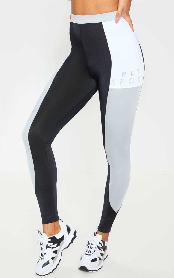 PRETTYLITTLETHING Black Side Panel Gym Leggings 2