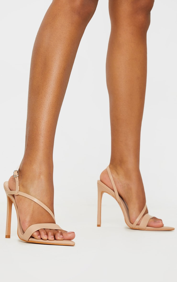 Nude Asymmetric Strap Point Toe Heeled Sandal 1