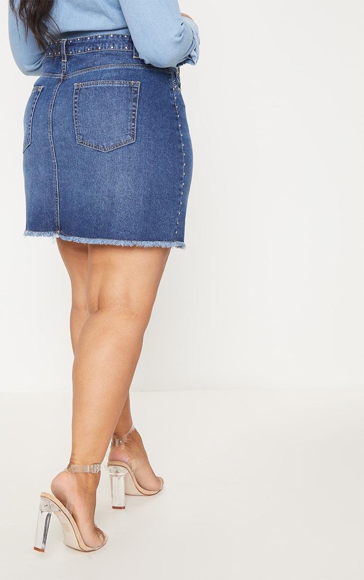 Plus Indigo Studded Raw Hem Demin Skirt 4
