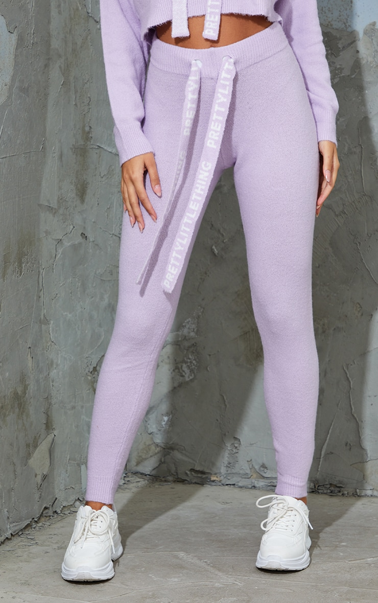 PRETTYLITTLETHING Lilac Soft Knitted Sweat Pants 2