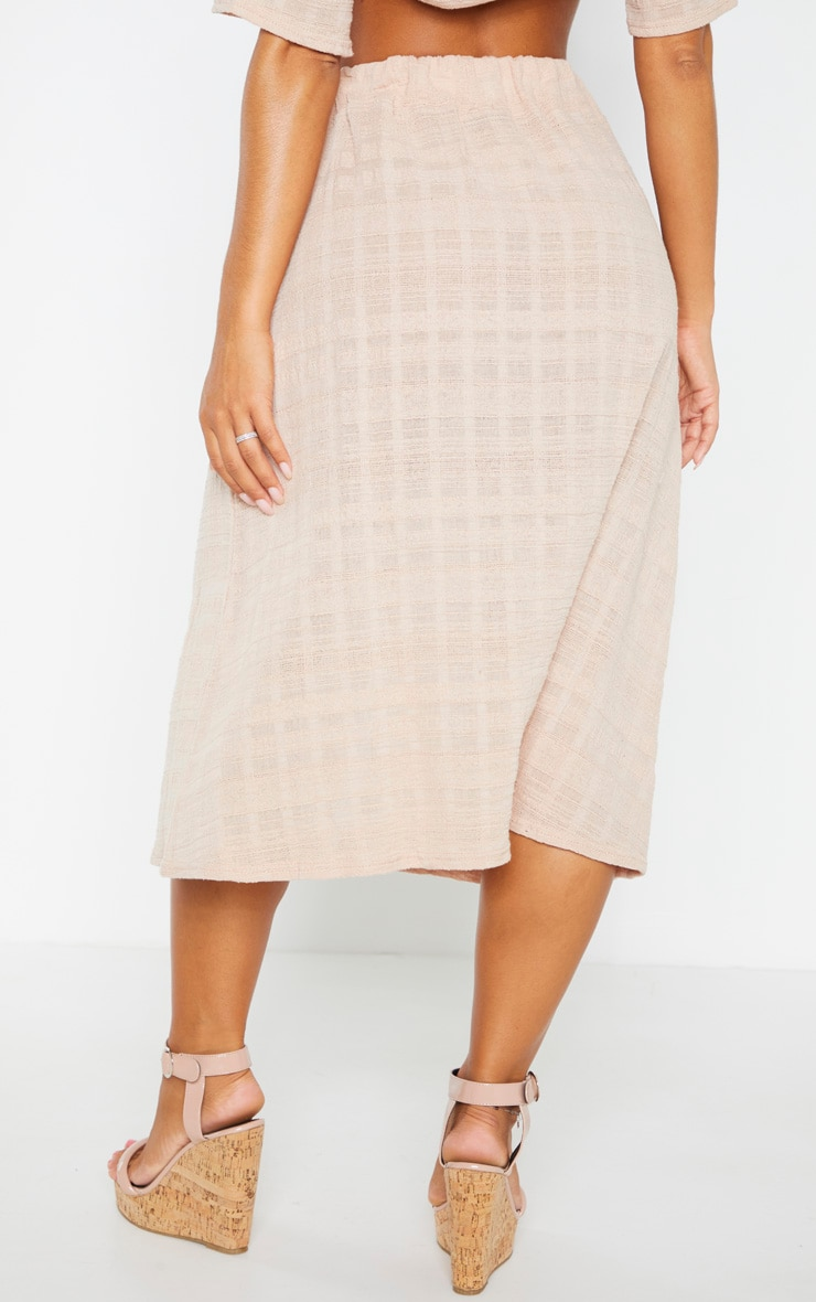 Stone Cotton Button Up Beach Skirt 4