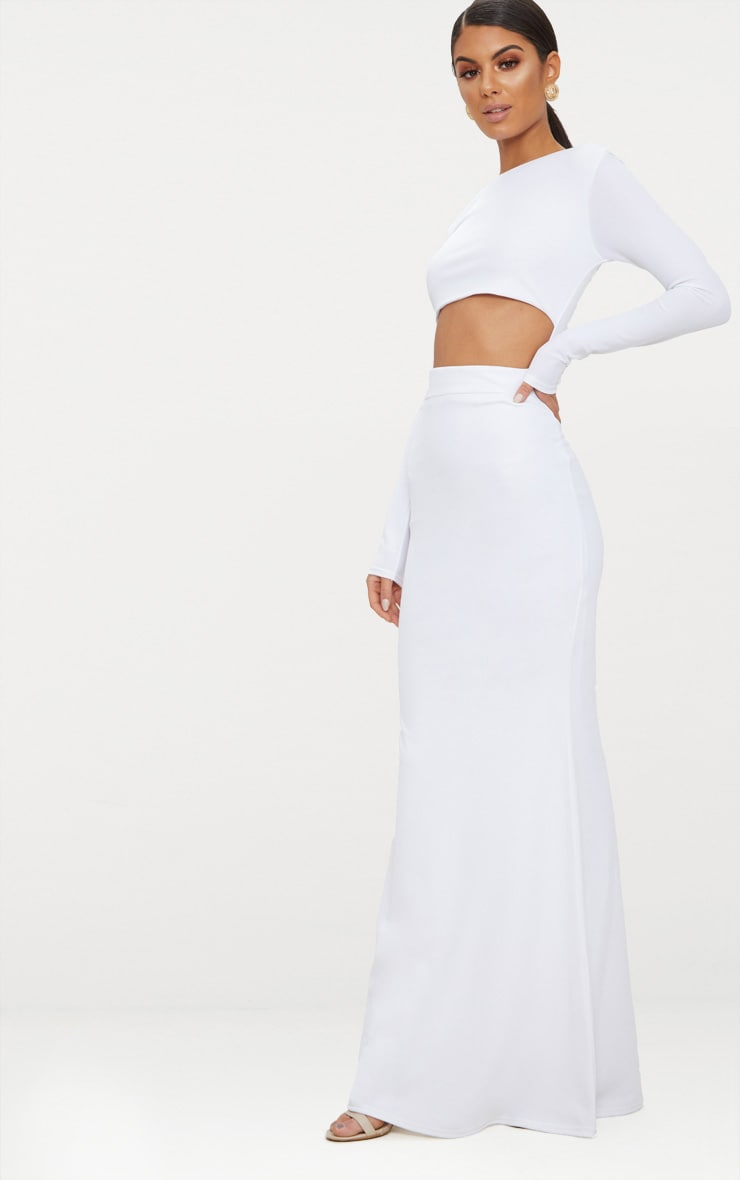 White Cut Out Detail Long Sleeve Maxi Dress 4