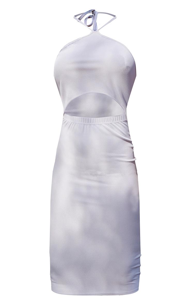 Grey Halterneck Cut Out Midi Dress 5