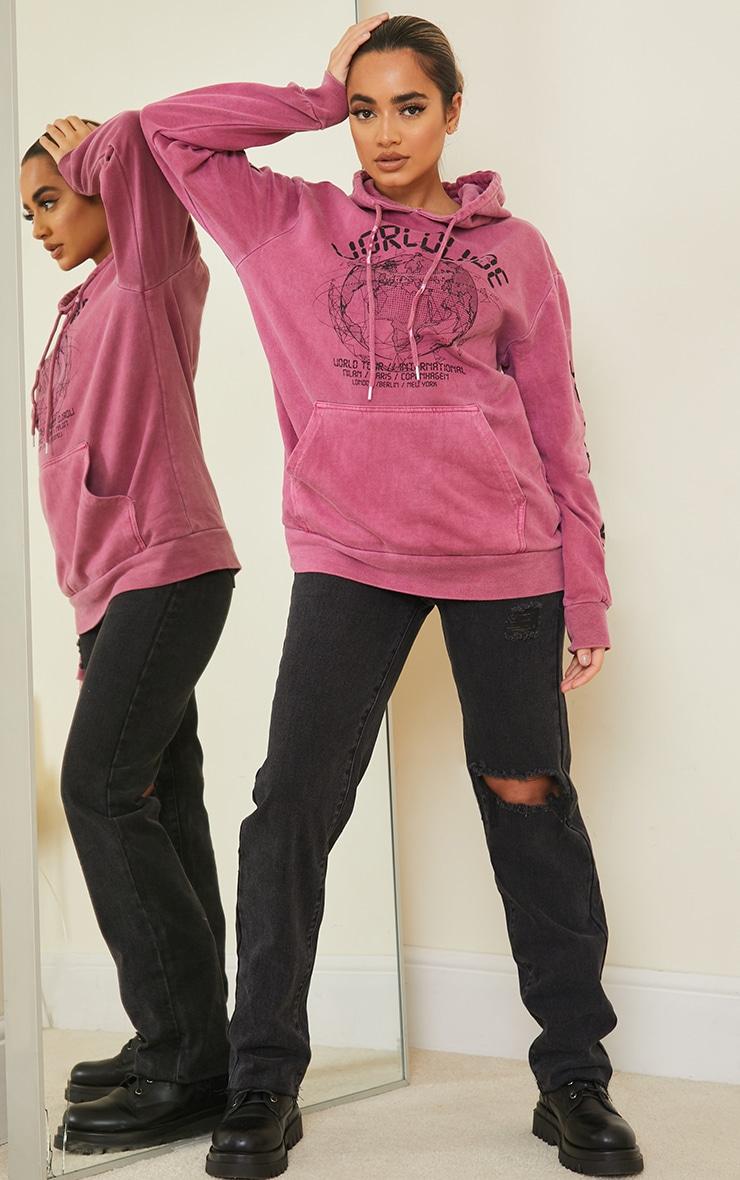 Petite Bright Pink Worldwide Hoodie 3