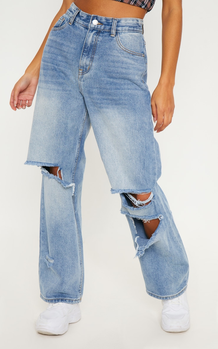 Mid Wash Baggy Low Rise Distressed Boyfriend Jeans  2
