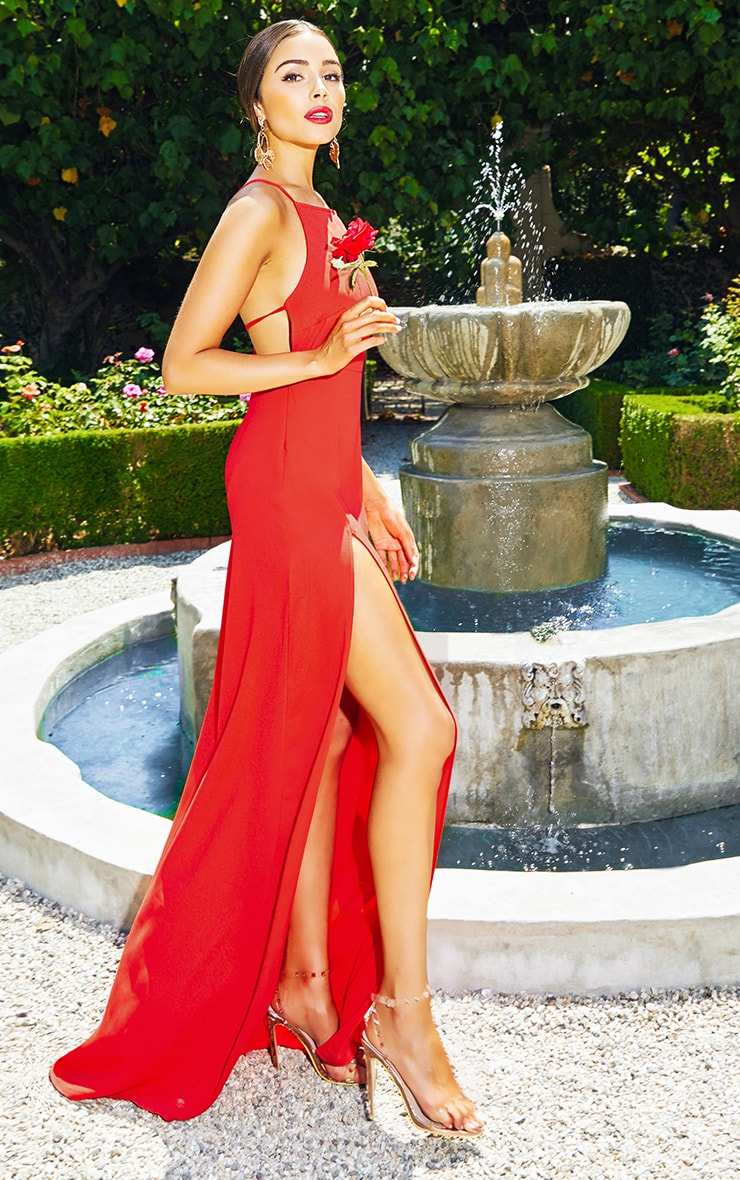 Red Strappy Back Detail Chiffon Maxi Dress 2