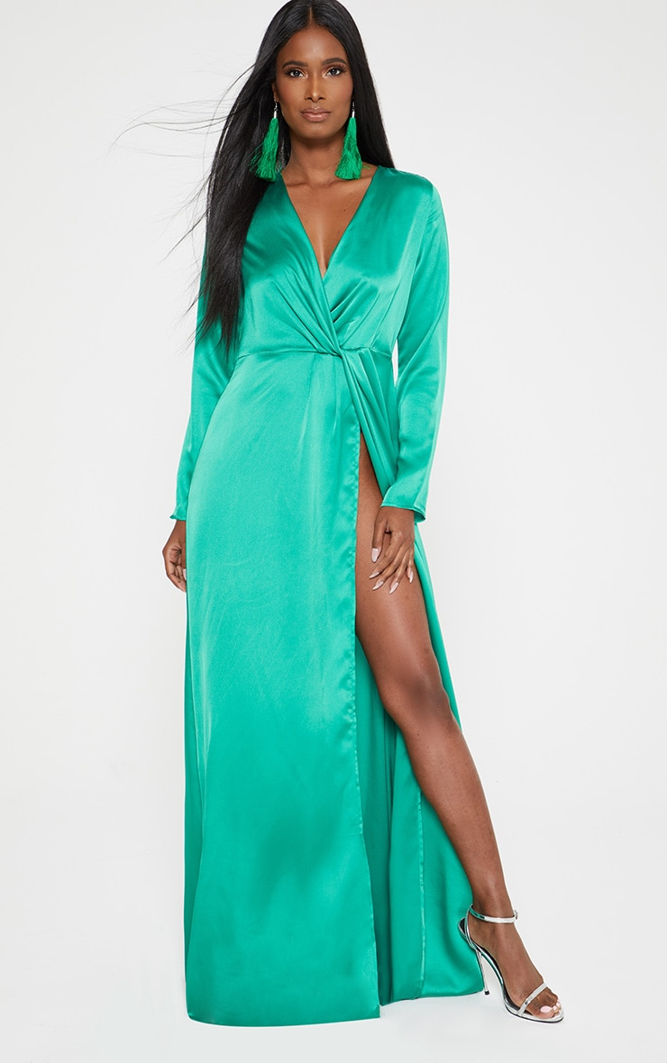Green Satin Twist Front Maxi Dress 1