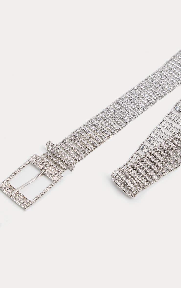 Silver Diamante Chain Link Belt 3